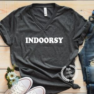 Indoorsy Graphic Tee Vneck Gray NEW NWT Sz to 2XL